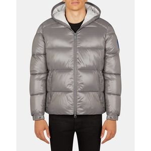 SAVE THE DUCK Men's Edgard Hooded Puffer Jacket Luck Quilted Large Midgrey
